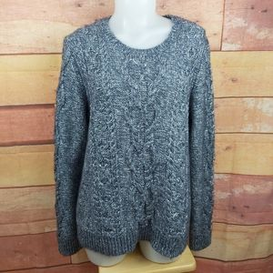 Cable knit woolblend with metallic thread sweater